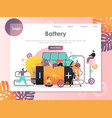 battery website landing page design vector image vector image