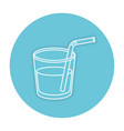 beverage in glass cup with straw vector image