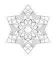black and white circular round star mandala star vector image