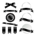 black ribbons flag and labels set isolated on vector image vector image