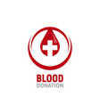 blood donation logo a drop blood vector image vector image