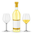 bottle white wine with glasses vector image