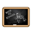 cartoon pencil with bell and text back to school vector image vector image