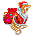 cat santa claus with a bag of gifts vector image