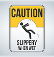 caution wet floor sign yellow sign with falling vector image