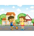 Children talking outside vector image vector image