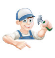 construction guy pointing at banner vector image vector image