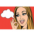 cute retro woman in comics style with ok sign vector image vector image