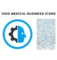 Cyborg Icon with 1000 Medical Business Pictograms vector image vector image