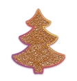 fir-tree embroidered on cardboard vector image vector image