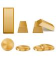 golden bars yellow metal ingots and coins vector image