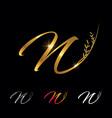 golden letter n monogram initial sign vector image vector image