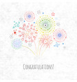 greeting card with doodle fireworks on old paper vector image vector image