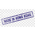 grunge made in hong kong rectangle stamp vector image vector image