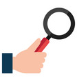 hand with magnifying glass icon vector image vector image
