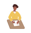 happy black woman write paper document sitting vector image