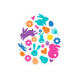 happy easter banner with bunny flowers and eggs vector image vector image