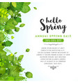 hello spring leaves background vector image