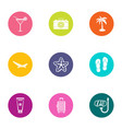 hot day icons set flat style vector image vector image
