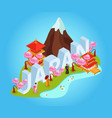 japan isometric composition vector image vector image
