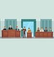 judicial process public hearing and criminal vector image