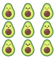 kawaii cute avocado set with emotions isolated vector image vector image