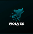 logo wolves gradient colorful style vector image vector image