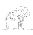 man watering the tree - one continuous line design vector image vector image