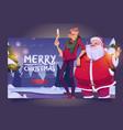 merry christmas cartoon landing page santa claus vector image vector image
