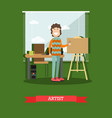 painter artist in flat style vector image vector image