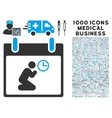 Pray Time Calendar Day Icon With 1000 Medical vector image