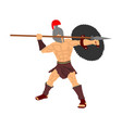 roman legionary soldier in battle with spear vector image