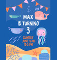 sea or nautical invitation to third birthday party vector image