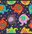 seamless pattern with colorful elephants vector image