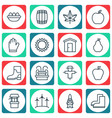 set of 16 gardening icons includes nectarine vector image vector image