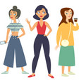 set of trendy girls hipsters vector image