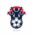 soccer fans with scarves vector image vector image