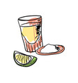 tequila shot with lime hand drawn icon vector image vector image