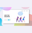 tug war in business website landing page group vector image vector image