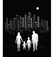 Urban background and family silhouettes vector image vector image