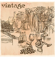 Vintage Wine Cellar An hand drawn picture Line art