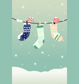 winter christmas stockings vector image vector image