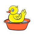 yellow duck toy icon cartoon style vector image vector image