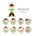 young man with migraine triggers icons set vector image vector image