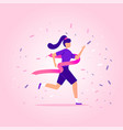 young woman running on stadium to win and vector image vector image