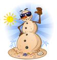Sand Snowman Cartoon Character vector image