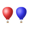 3d realistic red and blue hot air balloon vector image vector image