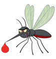 angry mosquito cartoon character flying vector image
