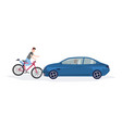 automobile knocking down boy riding on bike head vector image