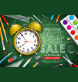 back to school sale design with alarm clock vector image vector image